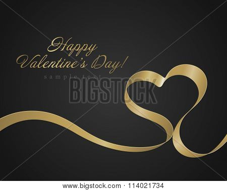 Heart from golden shiny ribbon Valentine's day Greeting Card vector background. Good for Valentines day invitation, Valentine card, Valentines day background.