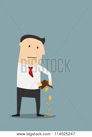 Bankrupt businessman with empty wallet