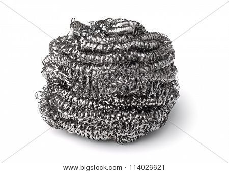 Steel kitchen scrubber isolated on white