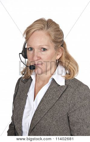 Woman With Headset On