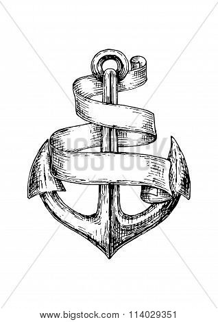 Sketch of old heraldic anchor with paper scroll