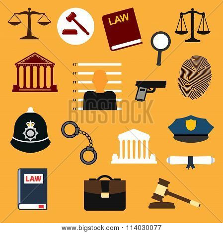 Law, justice and police flat icons