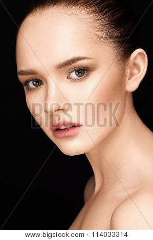 Close-up Portrait Of Beautiful Girl With Clear Healthy Skin