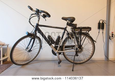 Electric Bicycle In A Garage