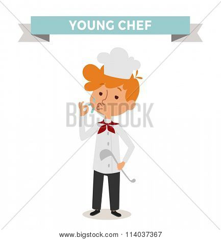Chef boy with cook hat isolated on white. Cute cartoon vector profession chef kid with cook spoon. Chef boy funny cartoon kid. Profession cook chef boy children vector. Profession chef boy