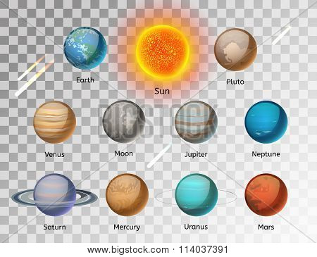 Planets colorful vector set on white background, Planet vector set. Planet icons 3d infographic elements. Planets collection silhouette. Planets illustration vector 3d icons. Planet icons isolated