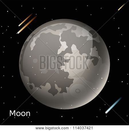 Moon planet 3d vector illustration. Globe Moon texture map. Globe vector Moon view from space. Moon illustration. Vector Moon planet. Moon planet silhouette, world map, 3d Moon