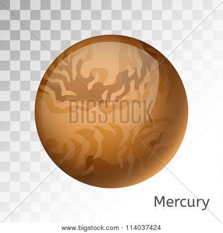 Mercury planet 3d vector illustration. Globe Mercury  texture map. Globe vector Mercury view from space. Mercury illustration. Vector Mercury planet. Mercury star silhouette, world map, 3d Mercury