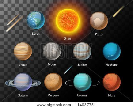 Planets colorful vector set on dark background, Planet vector set. Planet icons 3d infographic elements. Planets collection silhouette. Planets illustration vector 3d icons. Planet icons isolated