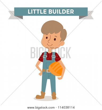 Builder boy with helmet isolated on white. Cute cartoon vector profession builder kid with helmet. Builder funny cartoon kid. Profession builder children vector. Profession Builder boy