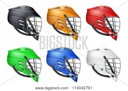 Set of Lacrosse Helmets Side View. Sports  Vector illustration isolated on white background. poster
