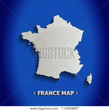 France map blue line 3D vector