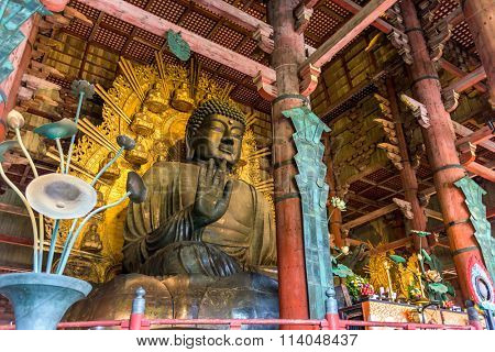 NARA, JAPAN - NOVEMBER 19, 2015: The Todaiji Buddha. It is considered the world's largest bronze statue of the Buddha Vairocana.
