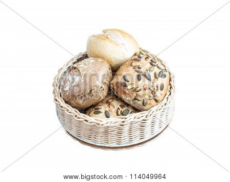 basket with different buns isolated