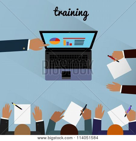 Workspace training design flat. Business training, training course, learning and train, education and computer training, business office, technology and management, computer laptop illustration poster