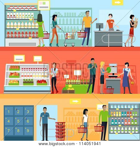 People in Supermarket Interior Design