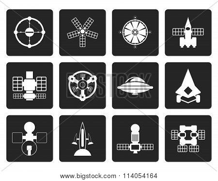 Black different kinds of future spacecraft icons