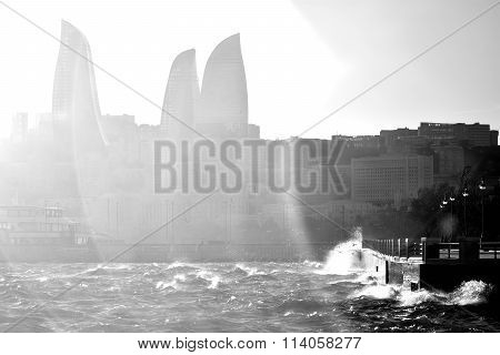 Stormy Caspian Sea with waves breaking against the Bulvar