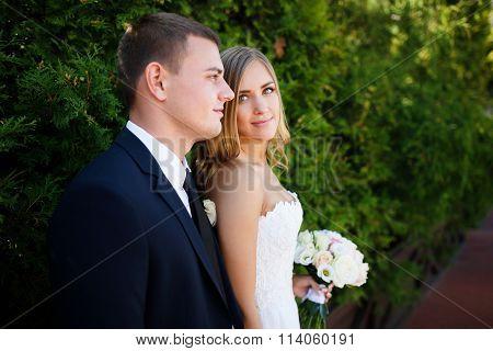Embracing Wedding Couple