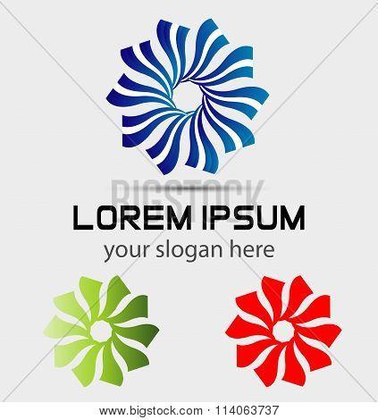 Abstract circular sign corporate design icon logo set