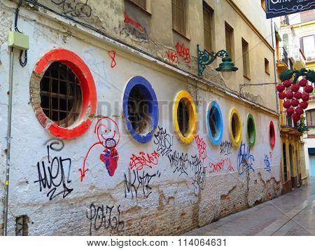 Colourful Portholes In Malaga Street
