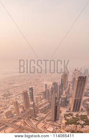 Panorama of Dubai during sandstorm