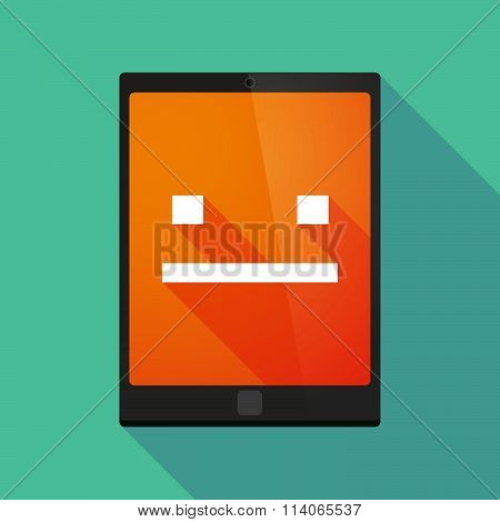 Long Shadow Tablet Pc Icon With A Emotionless Text Face