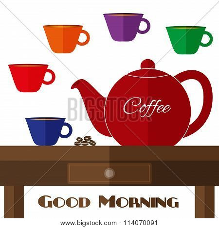 Fully Vector Flat Coffeepot Illustration With Set Of Cups In Colors