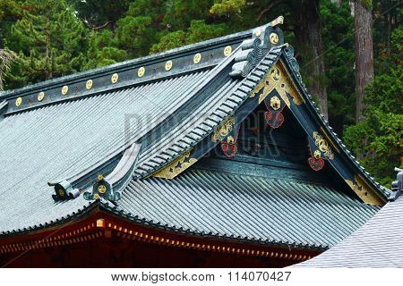 Japanese style temple roof eave