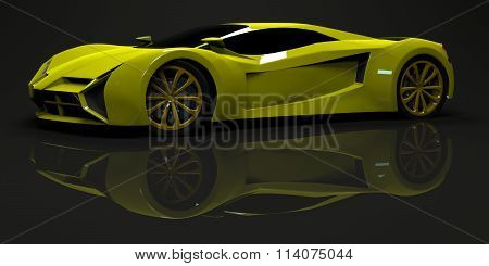 Big shiny sports car premium. Conceptual design. A prototype of fast transport of the future. Advanc