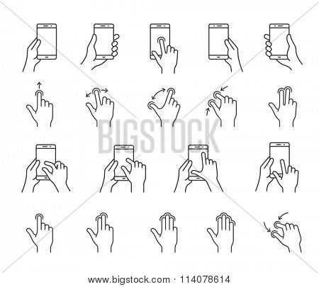 Gesture icons for smartphones. Linear icons for a mobile app user interface or manual. Simple outlined vector icons