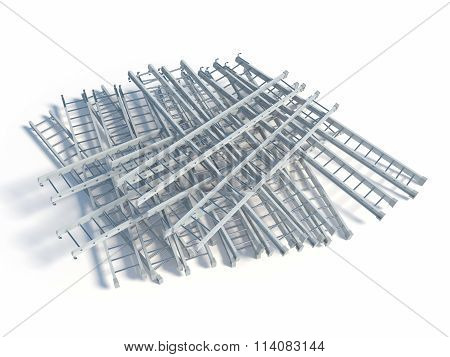 Lying White Metal Ladder Heap