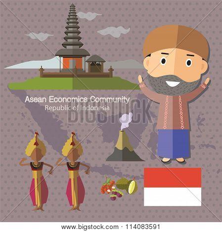 Asean Economics Community AEC Indonesia eps 10 format poster