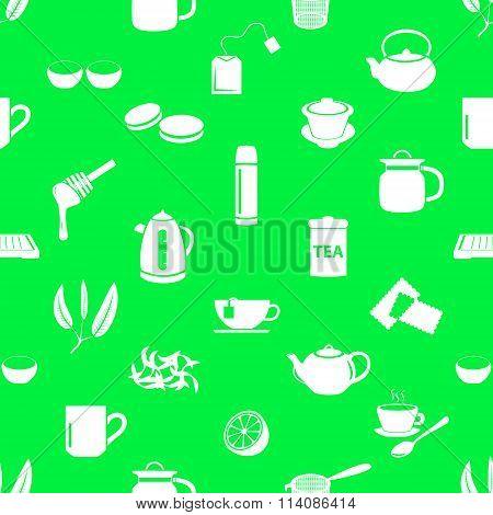 Tea Theme Simple Icons Seamless Pattern Eps10