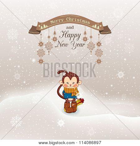 Vector illustration Christmas, Christmas snowfall with drifts an