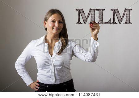 Mlm - Beautiful Girl Writing On Transparent Surface