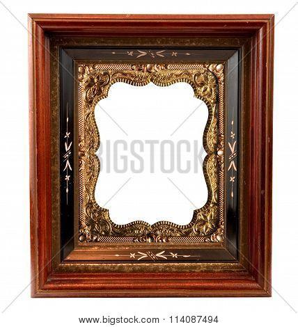 Vintage wooden Frame with ornate gold metal insert