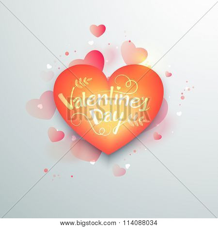 Greeting card design with beautiful glossy heart for Happy Valentine's Day celebration.