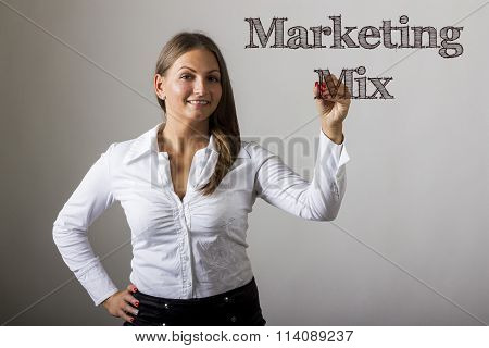 Marketing Mix - Beautiful Girl Writing On Transparent Surface