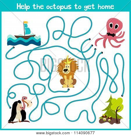 Cartoon Of Education Will Continue The Logical Way Home Of Colourful Animals.help The Octopus To Rea