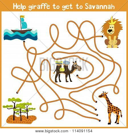 Cartoon Of Education Will Continue The Logical Way Home Of Colourful Animals.help Giraffe To Get Hom