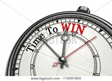 Time To Win Red Word On Concept Clock