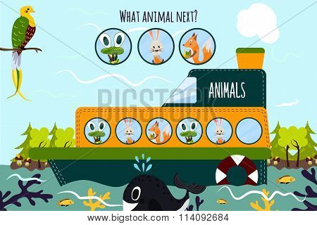 Cartoon Vector Illustration Of Education Will Continue The Logical Series Of Colourful Animals On A