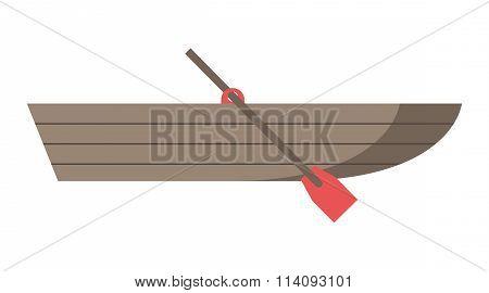 Wooden Boat With Oar