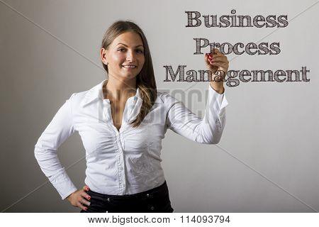 Business Process Management Bpm - Beautiful Girl Writing On Transparent Surface