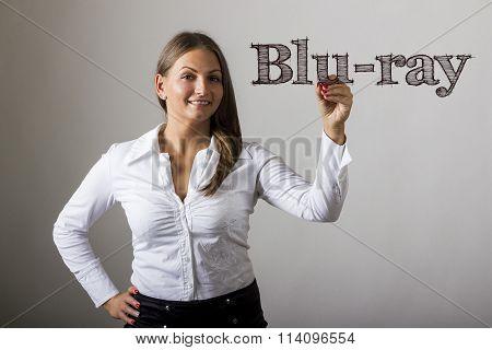 Blu-ray - Beautiful Girl Writing On Transparent Surface