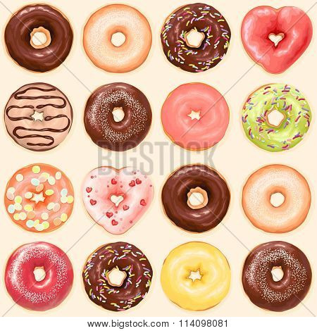 Seamless background of chocolate, red heart, green, yellow and orange color glazed donuts, vector collection of donuts illustration.