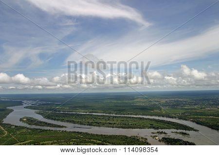 Zambezi river in Zambia and Zimbabwe Africa