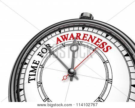 Time For Awareness Motivation Message On Concept Clock