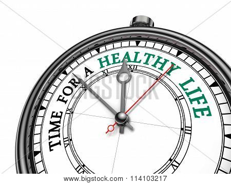 Time For Healthy Life Motivation On Concept Clock
